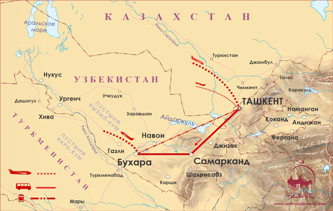 Карта маршрута «Классический Узбекистан»