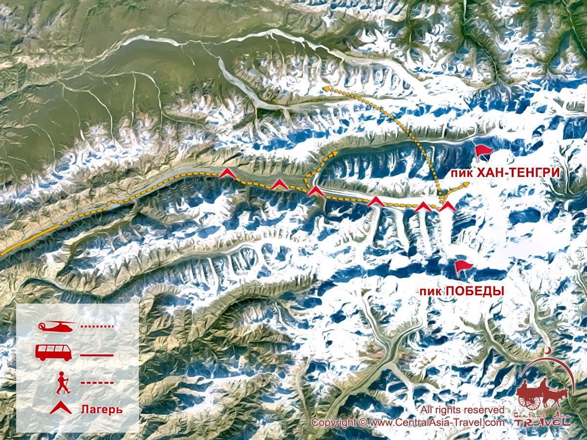 Карта активной части «К подножию Пика Хан-Тенгри»