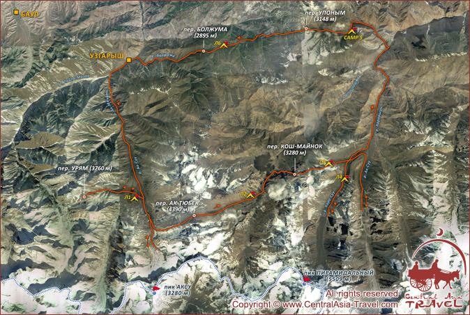 Профиль маршрута с использованием Google Earth. Пик Петровского (4700м)