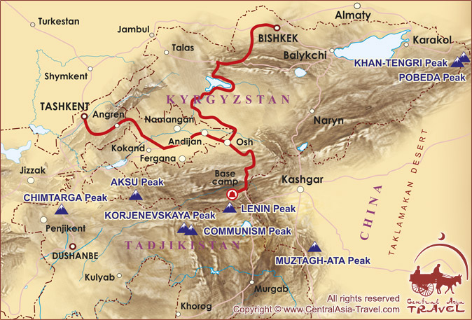 Lenin Peak Base Camp Route Map