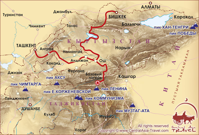 Карта заезда в Базовый Лагерь под пиком Ленина