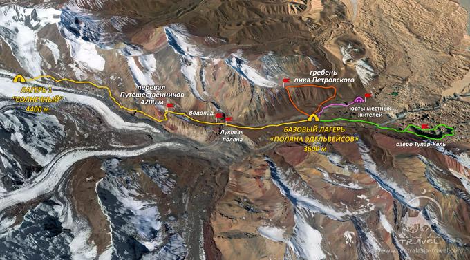 Карта маршрута «Курортный Памир»