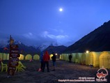 Base camp at night. Lenin peak, Pamir, Kyrgyzstan