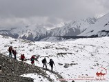 On the way to the Camp 1. Lenin peak, Pamir, Kyrgyzstan