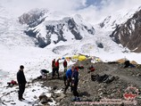 The first camp (4400 m). Lenin peak, Pamir, Kyrgyzstan
