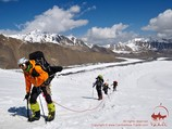 On the way to the Camp 2. Lenin peak, Pamir, Kyrgyzstan
