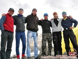 Team of the Camp 1 (4400 m). Lenin peak, Pamir, Kyrgyzstan