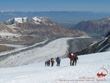 Ascent to the Camp 2 (5300m). Lenin peak, Pamir, Kyrgyzstan