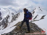 The summit of the Petrovsky peak (4830m). Pamir, Kyrgyzstan