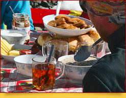 Meals at the Base Camp and Camp 1 of Lenin peak