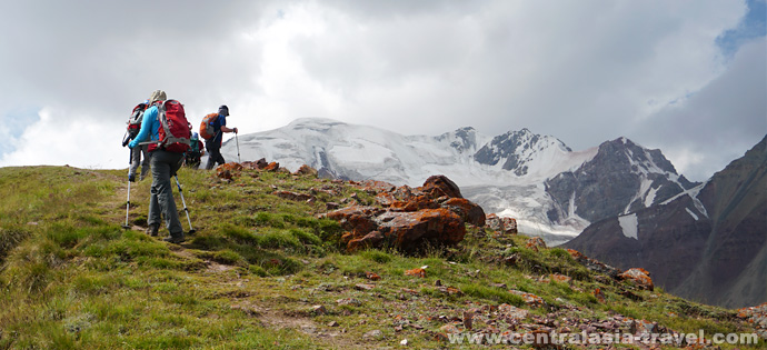 Hike up Petrovskiy Peak ridge. Pamir, Kyrgyzstan