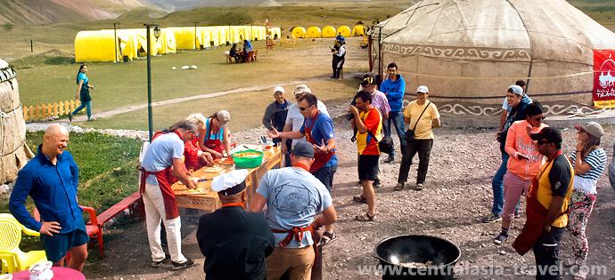 Фото, базовый лагерь. Активный семейный отдых. Приключенческий тур с треккингом в горах Памира. Пик Ленина, Памир, Кыргызстан
