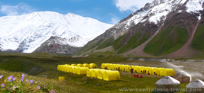 Photo, base camp, adventure tour, mountaineering, trekking. Lenin peak area. Pamir mountains, Kyrgyzstan