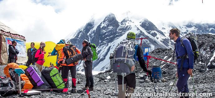 Фото, базовый лагерь. активный туризм. альпинизм. Приключенческий тур с треккингом в горах Памира. Пик Ленина, Памир, Кыргызстан