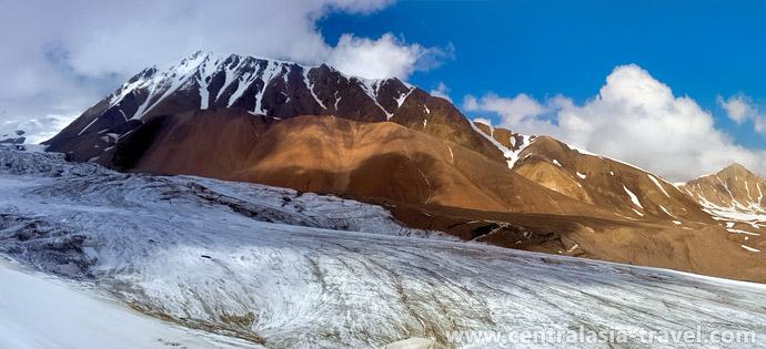 Pic Yukhin. Camp de base. tourisme d'aventure, alpinisme, randonnée. Pic Lénine, Pamir, Kirghizstan