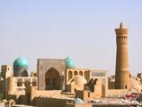 The Kalyan minaret of the Po-i-Kalyan mosque complex in Bukhara, Uzbekistan. To Aydarkul Lake via Kyzyl-Kum desert