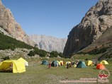 Camp 2 (3000m) at the Sabah peak. Pamir-Alay area, Kyrgyzstan