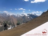 The view from the Udobniy pass (4140 m). Pamir-Alay area, Kyrgyzstan