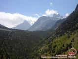Iskander (5120m) and Aksu (5365m) peaks. Pamir-Alay area, Kyrgyzstan