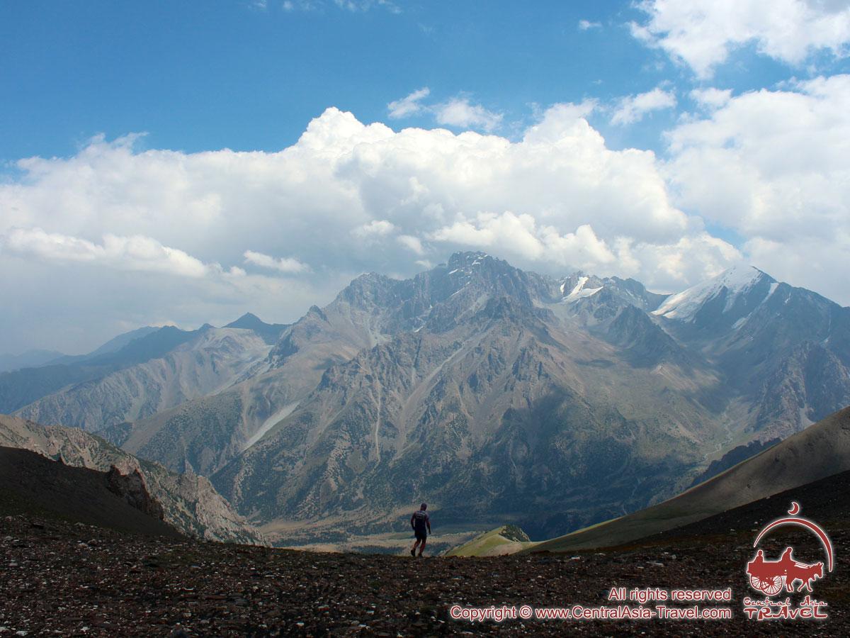 Вид с перевала Урям (3760 м) на долину Карасу. Район Памиро-Алая, Кыргызстан