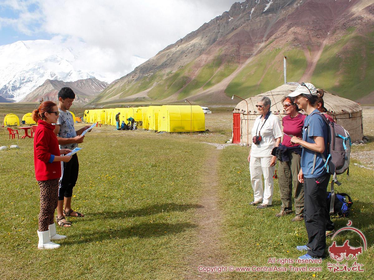Presentation of certificates. Lenin peak, Pamir, Kyrgyzstan