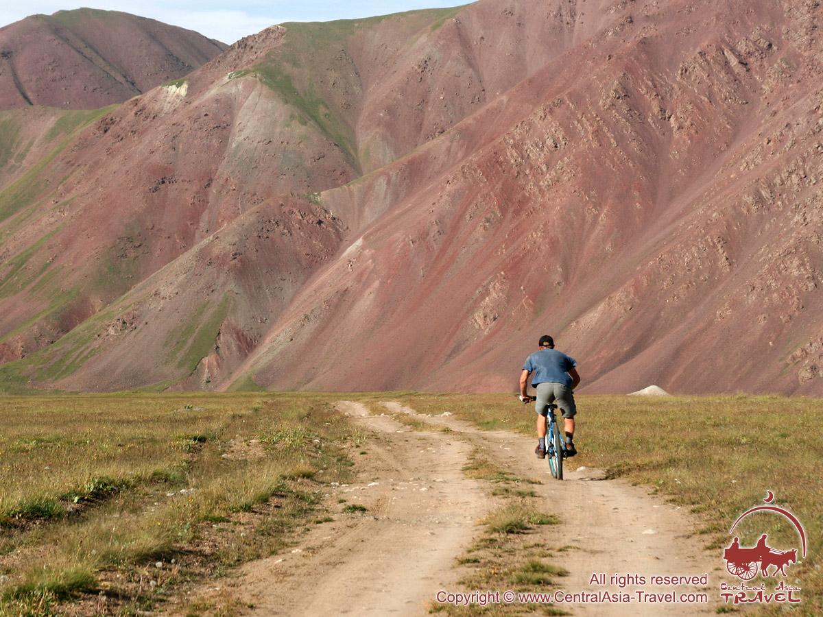 Biking around the base camp