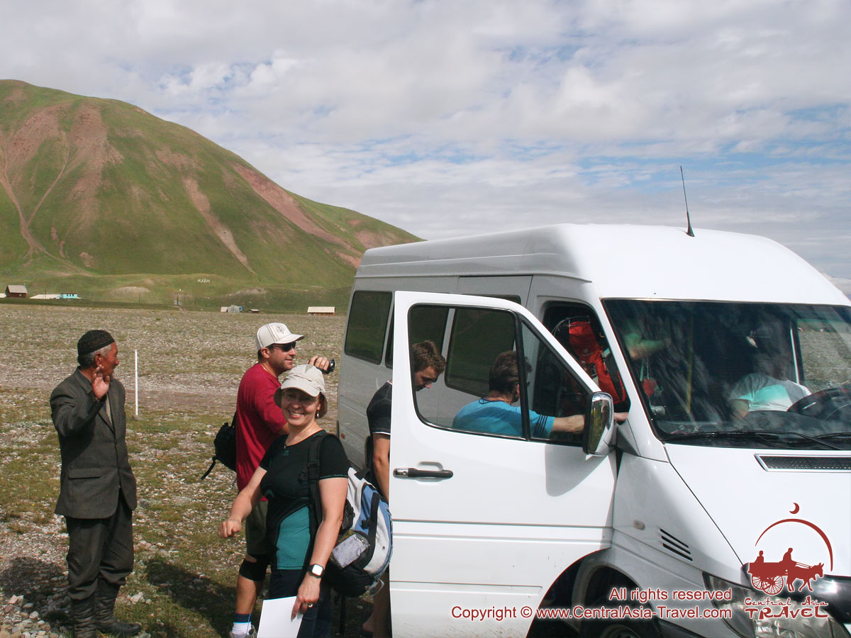 Departure from the base camp. Lenin peak, Pamir, Kyrgyzstan