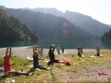 Yoga classes. Sary Chelek lake. Tien Shan, Kyrgyzstan