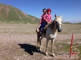 Local children. Base camp at the foot of Lenin peak