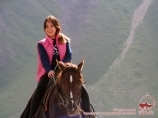 On the horse. Near the base camp of Lenin Peak