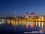 Ночная панорама Баку, Азербайджан
