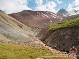 Ascent to the Travelers pass (4150 m). Lenin peak, Pamir, Kyrgyzstan