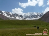 On the way to the Yukhin peak (5130 m). Pamir, Kyrgyzstan