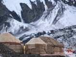 Yurts in the Camp 1 (4400 m). Lenin peak, Pamir, Kyrgyzstan