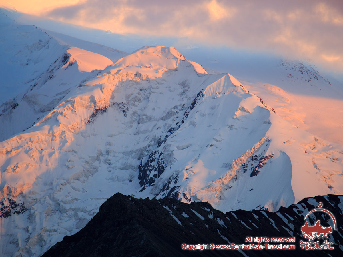 Sunset on Lenin Peak. Pamir, Kyrgyzstan