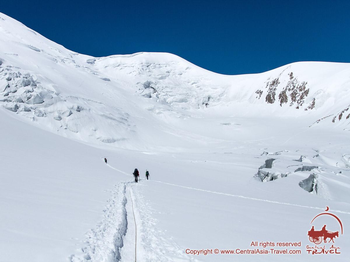 On the way to the Camp 2. Lenin peak, Pamir, Kyrgyzstan