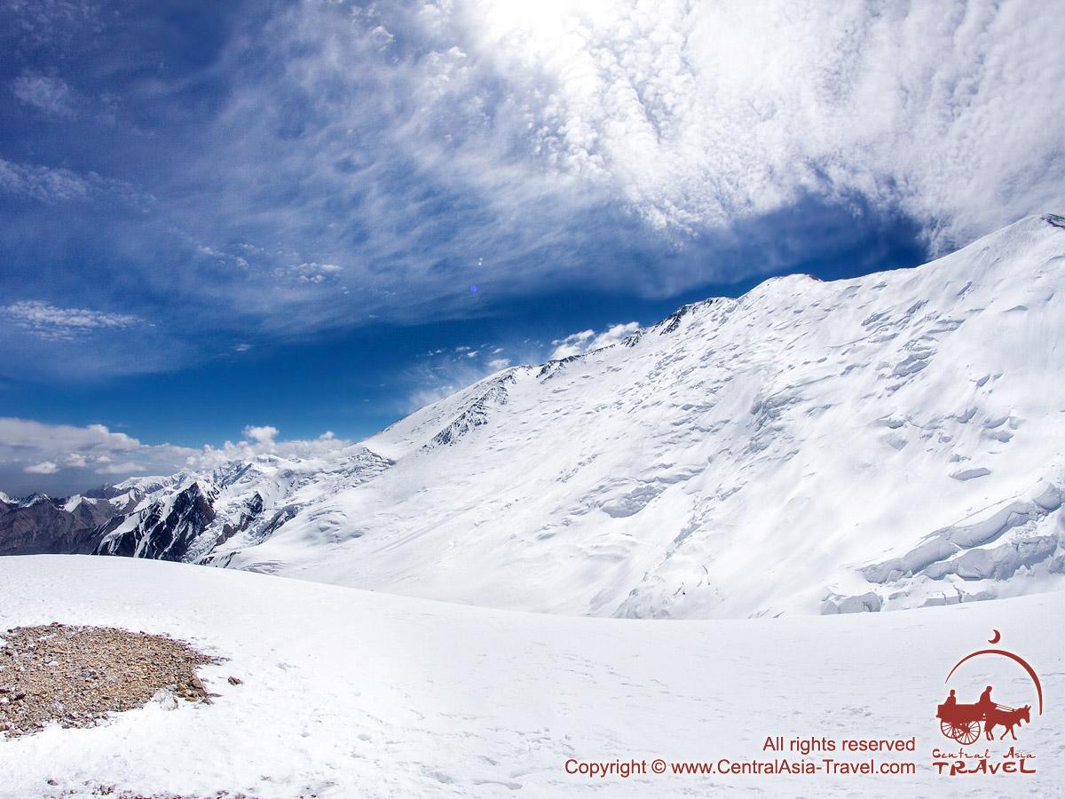 The descent to the Camp 2 (5300m). Lenin peak, Pamir, Kyrgyzstan