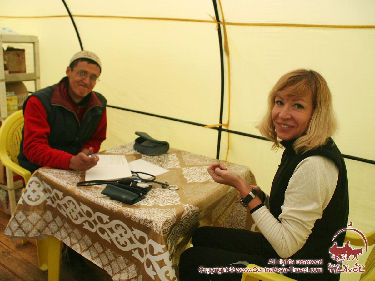 Medical service at the camp 1 (4400 m). Lenin peak, Pamir, Kyrgyzstan