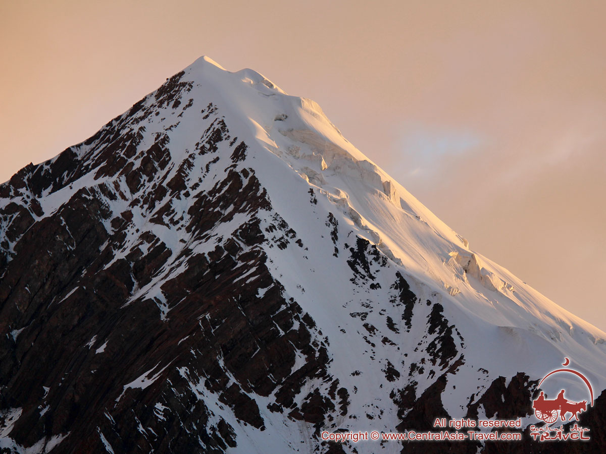 Sunset in the Camp 1 (4400m). Lenin peak, Pamir, Kyrgyzstan
